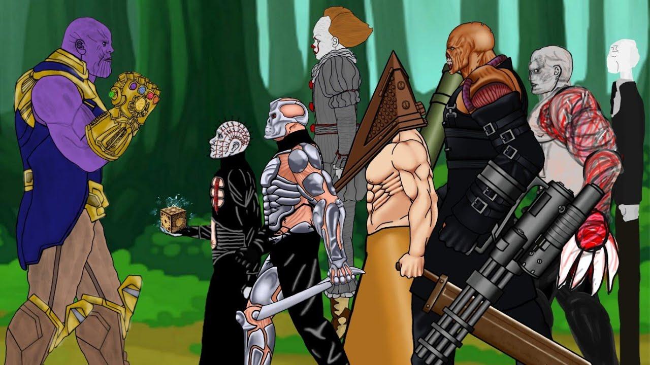 Thanos vs Nemesis, SLENDERMAN, Pyramid head, Uber Jason, IT Pennywise, Tyrant, Pinhead [Dc2]
