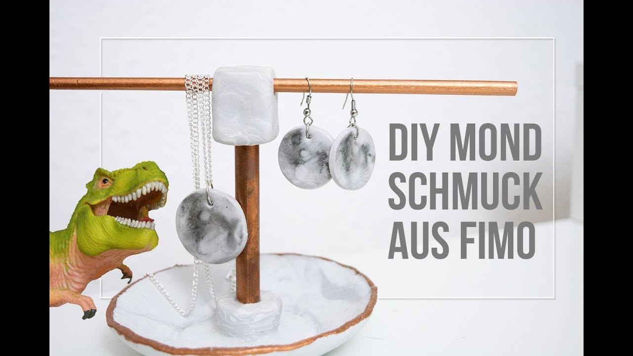DIY Mond Schmuck aus Fimo basteln | Geschenkidee - YouTube