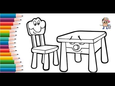 Раскраска для детей СТУЛ и СТОЛ. Мультик-раскраска. Учим цвета.