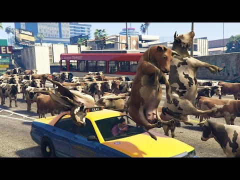 COW ARMY TAKES OVER CITY!   GTA 5 Online