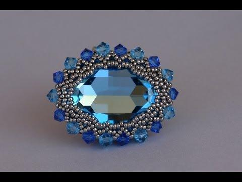 How to bezel a 30x22mm Swarovski cabochon - Free beading tutorial by Sidonia's handmade jewelry