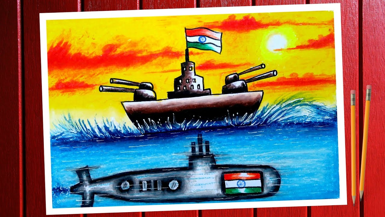 Indian Navy day drawing. Indian Navy day chart/poster drawing. Indian Navy day poster making.