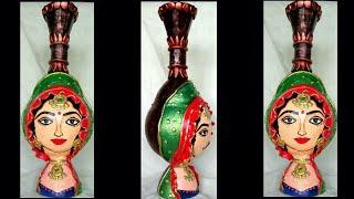 Clay Mural work on Pot (Pot made with Plastic bottle) | Shilpkar work