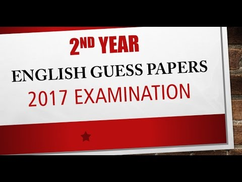2nd year Most important English guess papers 2017