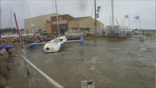 Tempète du 6 mars 2013 : Canet-en-Roussillon, la Base Nautique du Port