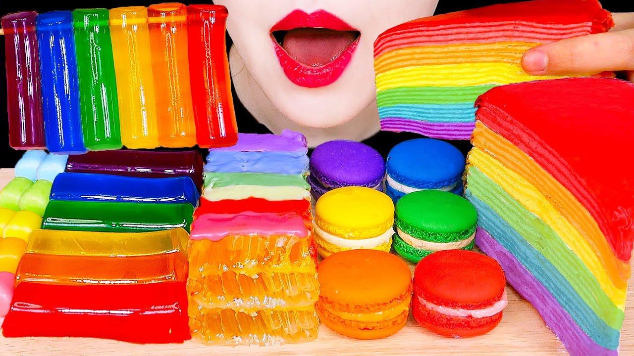 ASMR RAINBOW JELLY, HONEYCOMB, CREPE CAKE 무지개 젤리, 벌집꿀, 레인보우 크레이프 케이크 먹방 MOST POPULAR FOOD MUKBANG