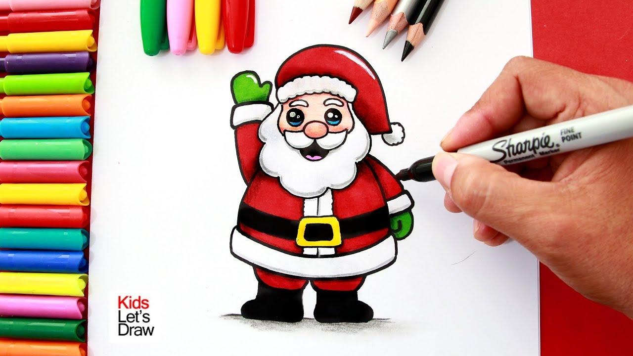 Aprende A Dibujar Y Pintar A Papá Noel Fácil How To Draw A Cute