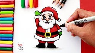 Aprende a dibujar y pintar a PAPÁ NOEL fácil | How to Draw a Cute Santa Claus
