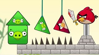 Angry Birds Piggies Out - CUT THE ROPE TO RESCUE TRIANGLE BIRDS! KICK PIGGIES!