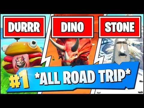 VISIT DRIFT PAINTED DURRR BURGER HEAD, A DINOSAUR, AND A STONE HEAD STATUE (Fortnite SEASON X)