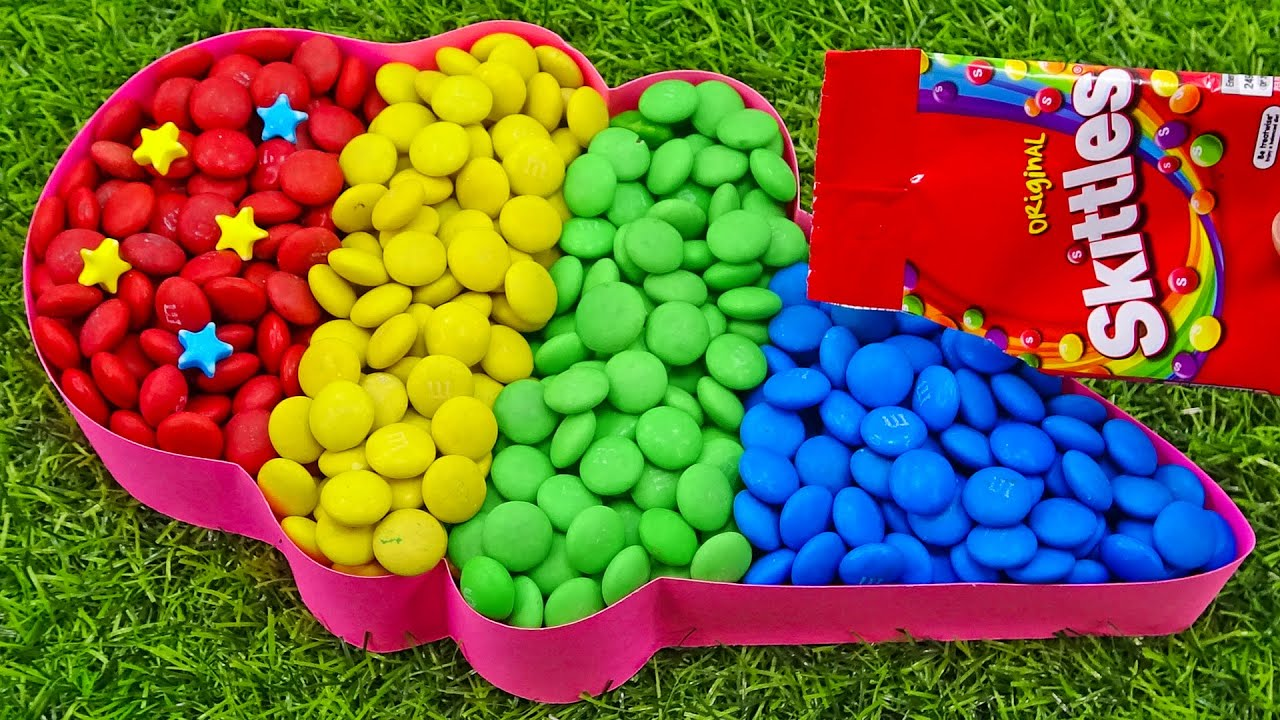 Satisfying Video l How To Make Rainbow Ice Cream Candy with Colorful Skittles Cutting ASMR #224
