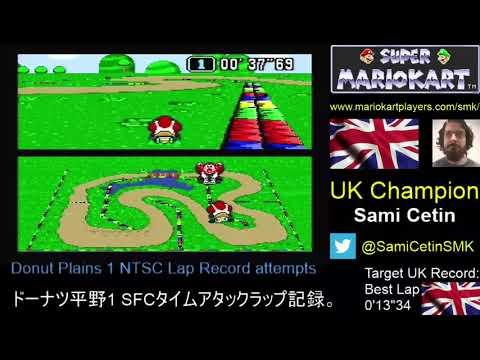 Super Mario Kart SNES Time Trial NTSC Donut Plains 1 Lap: 0'13