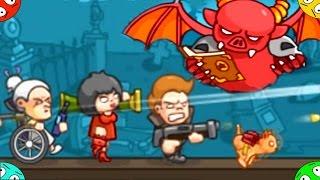 Боевая СЕМЬЯ. Битва с демонами в игре family rush. Стрелялка в мультике для мальчиков и девочек.