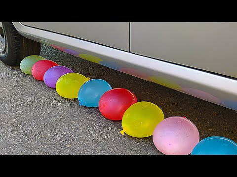 experiment-car-vs-water-balloons- -crushing-crunchy-&-soft-things-by-car- -crafts-test