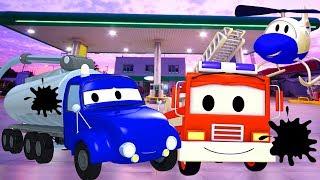 Patrol Policyjny wóz strażacki i radiowózi Tyson nie ma Paliwa | Samochody i Ciężarówki bajki