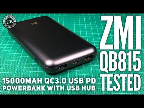 ZMI QB815 15.000mAh QC3.0 USB PD Powerbank with USB hub tested