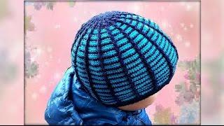 Шапка крючком для начинающих. Crochet hat.  Include subtitles.