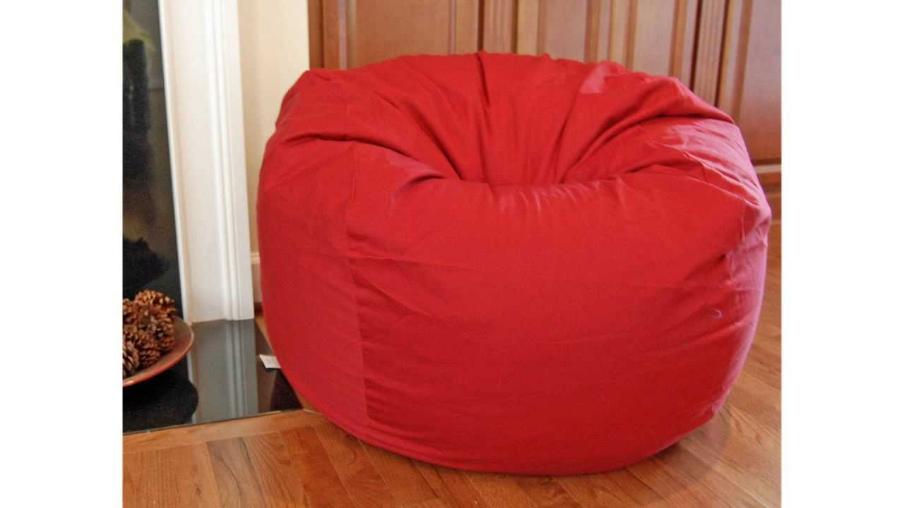 Charming Discount Bean Bag Chairs   Red ORGANIC Cotton Washable Large Bean Bag Chair