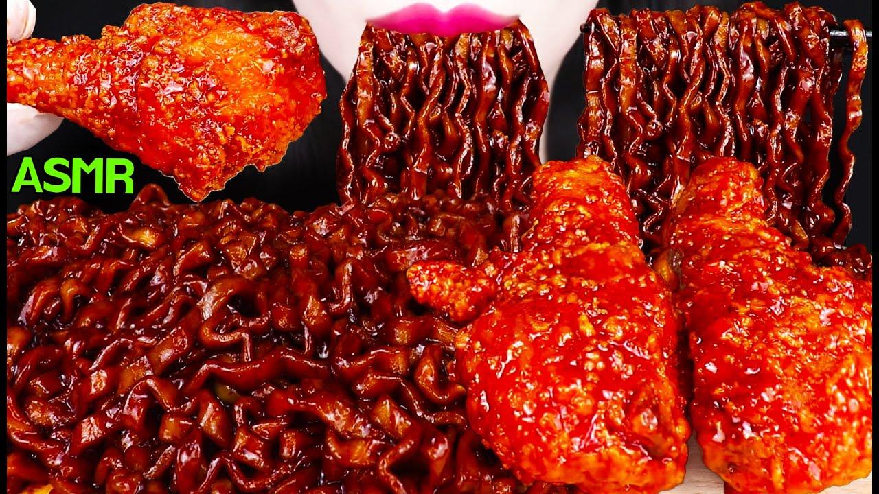 ASMR BLACK BEAN NOODLES + FRIED CHICKEN 시크릿 양념 치킨, 진진짜라 짜장 라면 먹방