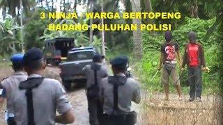 Ninja Nantangin Puluhan Polisi, Ditembakin Kaga Takut