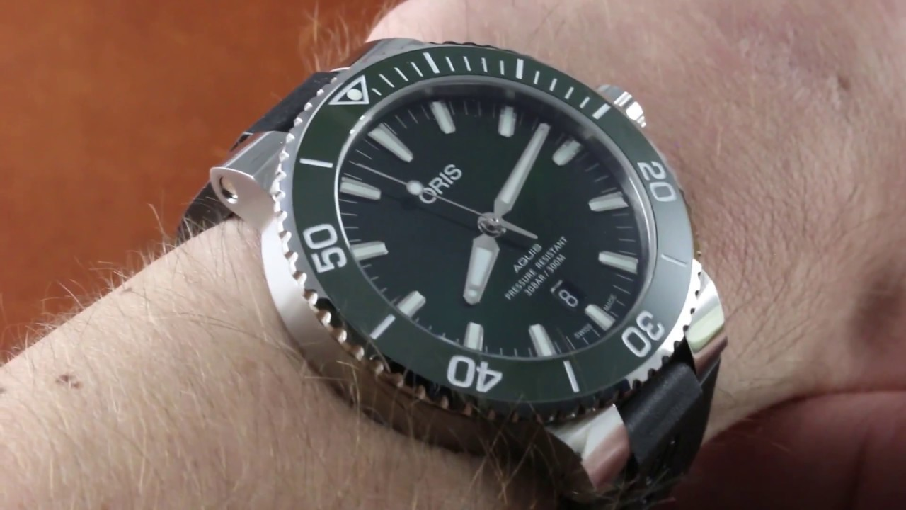 4655bd0b2e7 Oris Aquis Date GREEN CERAMIC Dive Watch (733 7730 4157-07 4 26 64EB)  Luxury Watch Review