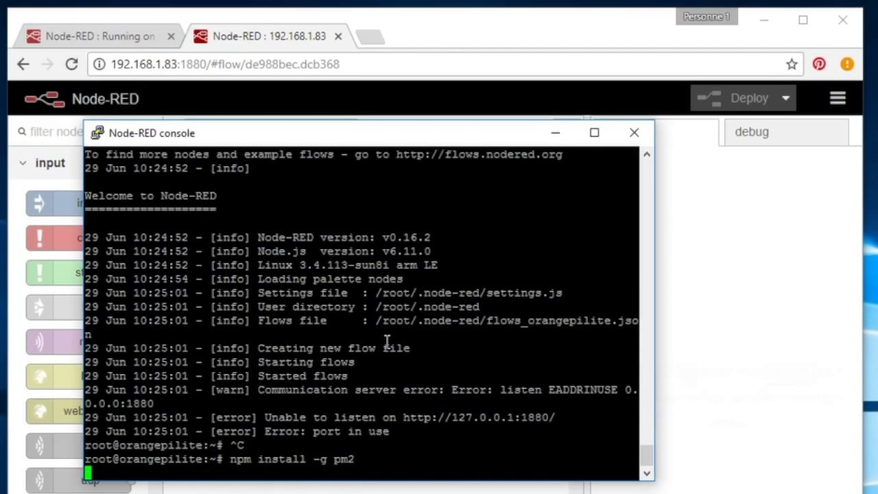 Install Node-RED on Orange Pi running Armbian, auto start with PM2