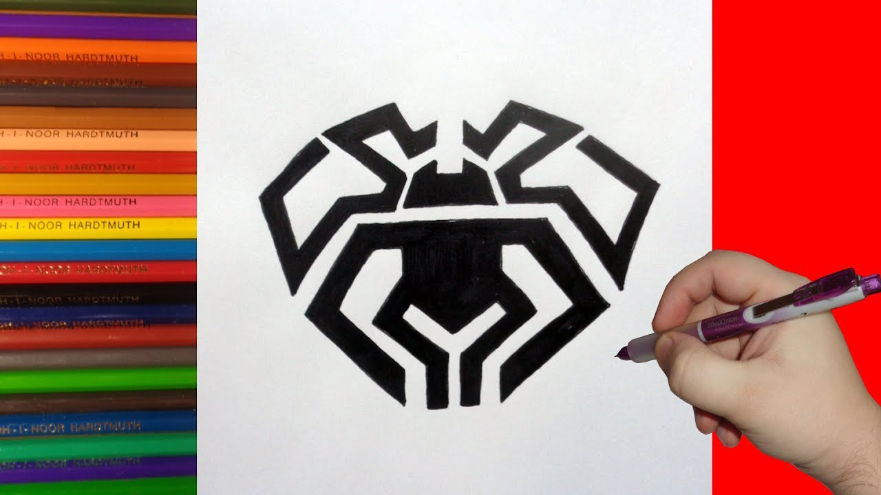 How to draw a spider man logo