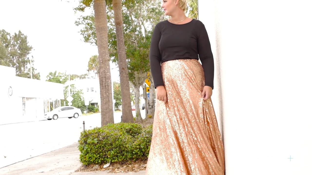 debd5dea5 Plus Size Sequin Maxi Skirt - Dark Blue – Society Plus