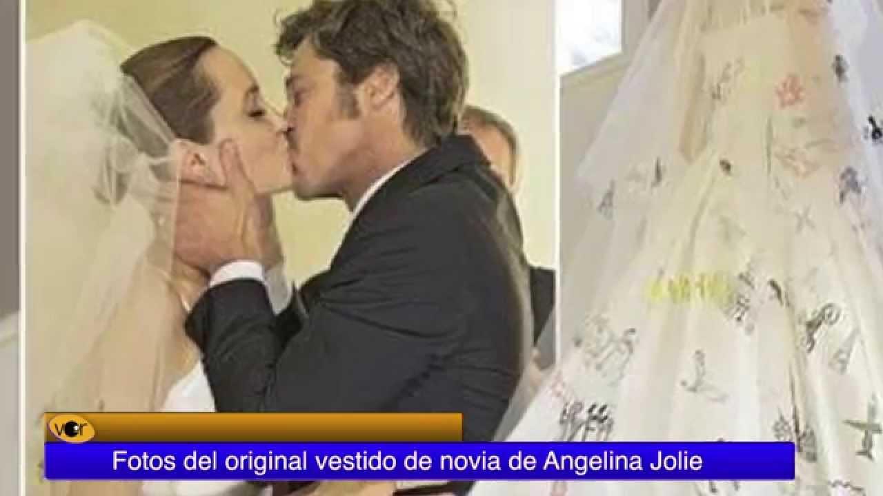 8b969aa65 Fotos del original vestido de novia de Angelina Jolie - YouTube