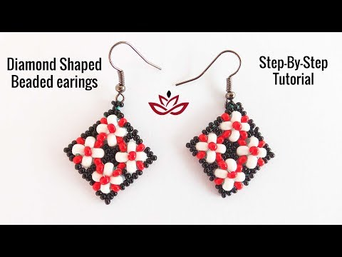Diamond Shaped Beaded Earrings - Tutorial. How to make DIY beaded earrings?