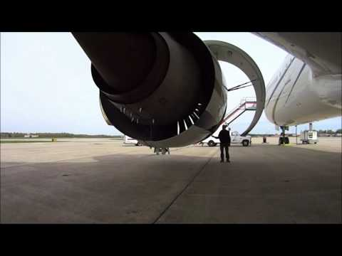 Opening Cowl and Thrust Reverser on Boeing 777 Engine GE90-90B