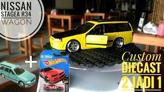 CUSTOM DIECAST: NISSAN STAGEA R34 WAGON - BASIC CAR TOMICA NISSAN STAGEA & HOTWHEELS SKYLINE R34
