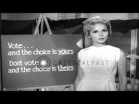 Host Janet Leigh urges Americans to vote during the Presidential election campaig...HD Stock Footage