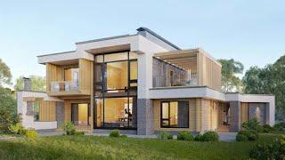 Проект дома в стиле хай тек. Дом с террасой, балконом и панорамными окнами. Ремстройсервис RH-319