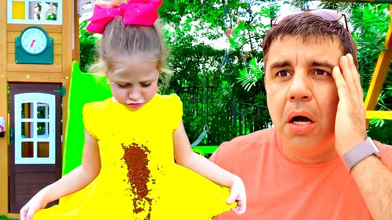 ناستيا وبابا يلعبان ألعاب خارجية و أنشطة للأطفال