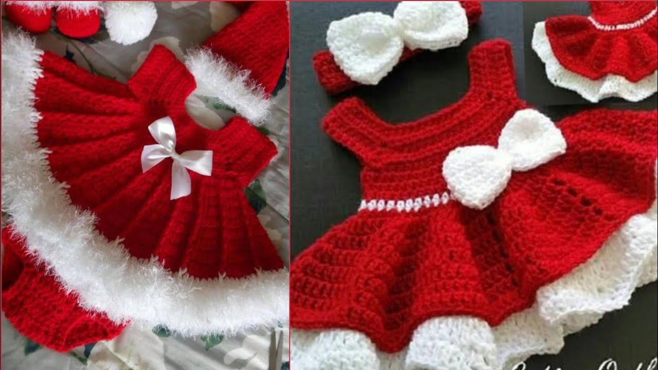 Crochet Knitting Baby Girls Red Frocks Designs Collection ...