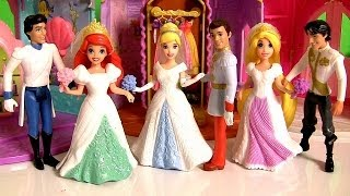 3 Magic Clip Fairytale Wedding Dolls Rapunzel Cinderella Ariel Play Doh Disney Princess MagiClip