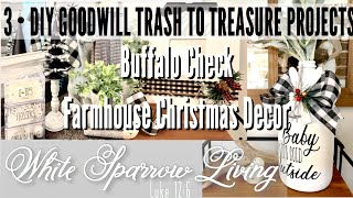 3 • DIY GOODWILL TRASH TO TREASURE BUFFALO CHECK FARMHOUSE CHRISTMAS DECOR PROJECTS