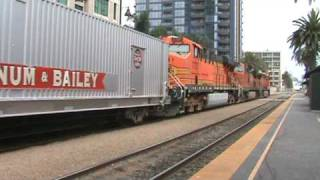 The Ringling Bros. & Barnum & Bailey circus train departs San Diego!