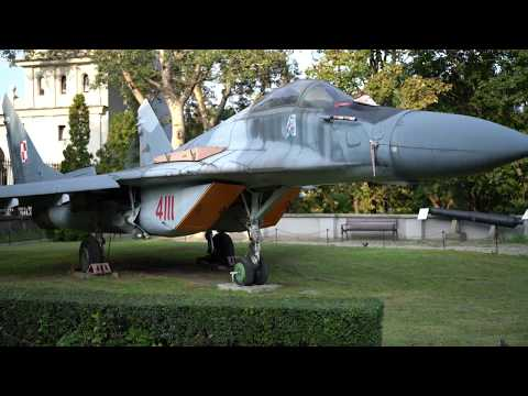 Walkaround of a MiG-29 Fulcrum Fighter Jet at Polish Army Museum in Warsaw Poland - 4K UHD