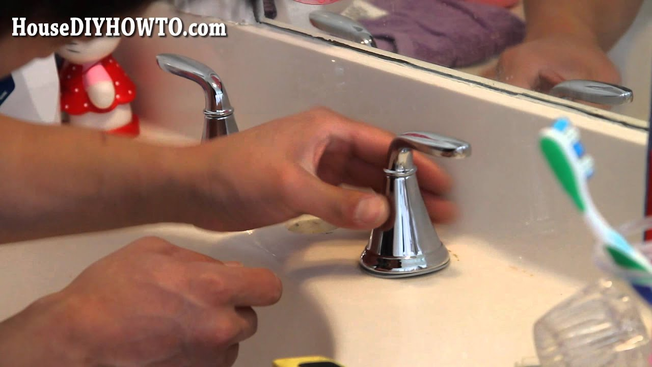 How to Install/Replace a Bathroom Faucet! - YouTube How To Install A Bathroom Faucet on exterior install a faucet, install vanity faucet, removing delta shower faucet, how put on a curtain to a bathroom sink,