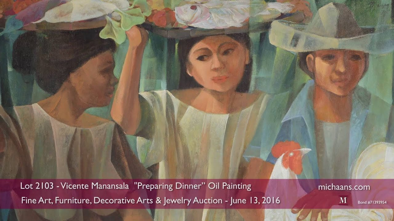 Vicente manansala preparing dinner oil painting