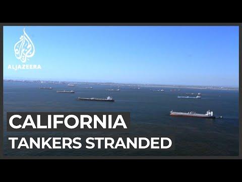 Dozens of oil tankers stuck at California port
