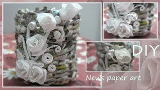 Pen holder: recycled newspaper craft: part 2