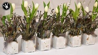 DIY - Frühlingsdeko selber machen   aus Beton, Zweigen, Tulpen und Federn   Tischdeko