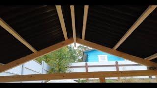как сделать двухскатную крышу для беседки