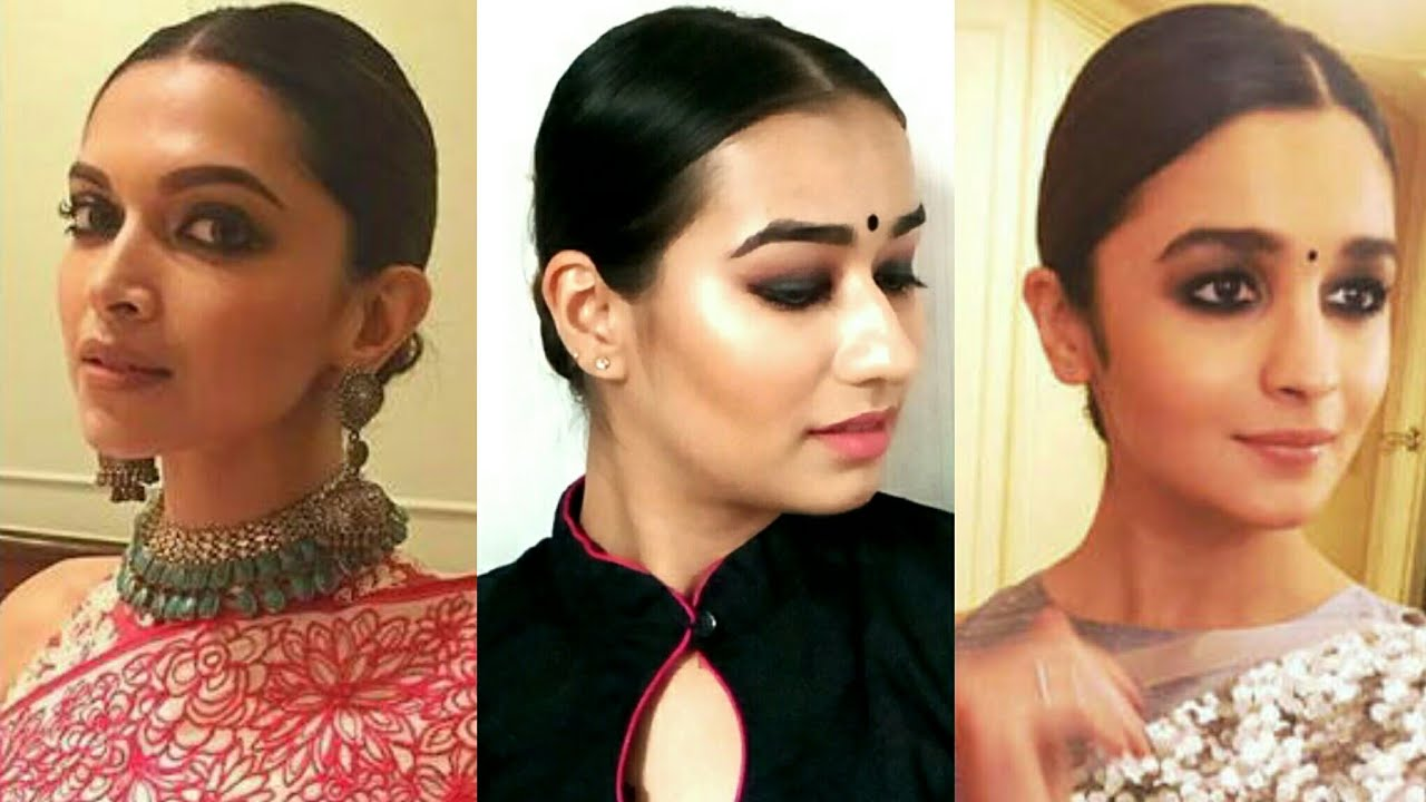 Sleek Low Bun Inspired By Deepika Padukone And Alia Bhatt Indian Hairstyles For Medium Long Hair