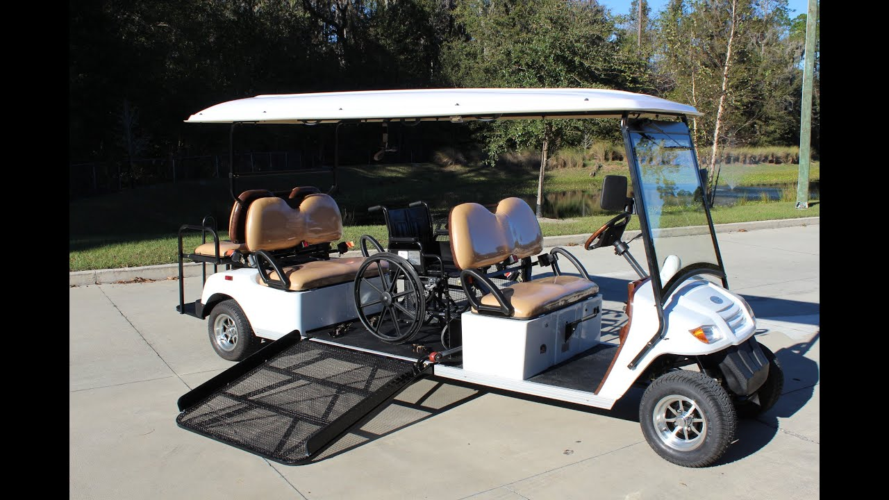 Street Legal Golf Cart Shuttle with Wheelchair Ramp and 6 Seats by
