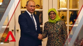 Russia's Vladimir Putin arrives at the Istana in Singapore