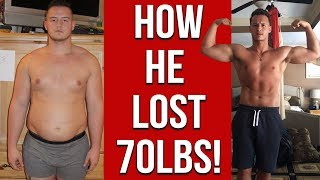 Amazing Weight Loss Transformation - How He Lost 70 Lbs.